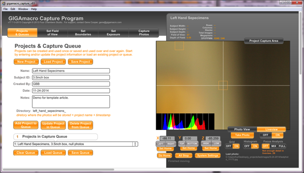 Project and Queue dialog box in GIGAmacro Capture program. Multiple Subjects: Templates in High Resolution Macro Workflow