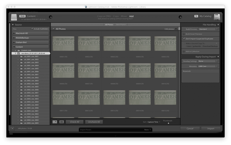 Lightroom Import Panel